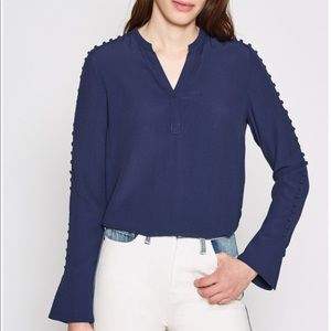 Joie Abe Navy Button Sleeve Blouse